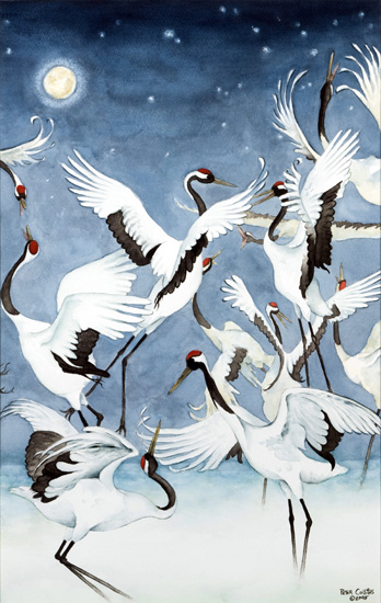 Red-Crowned Cranes Triptych Courtship