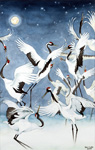 Red-crowned Cranes Triptych-Courtship
