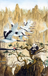 Red-crowned Cranes Triptych-Migration