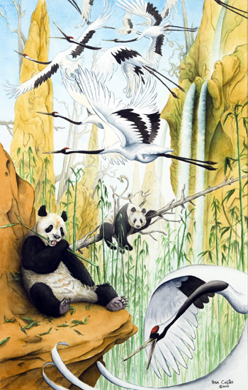 Red-Crowned Cranes and Pandas